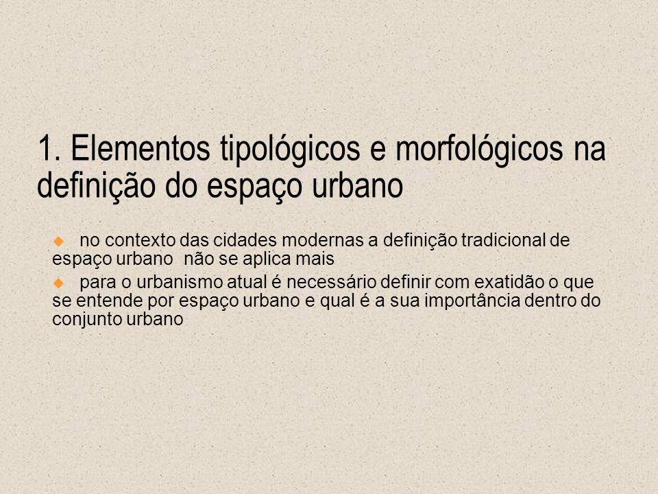 1. Elementos tipológicos e morfológicos na definição do espaço urbano