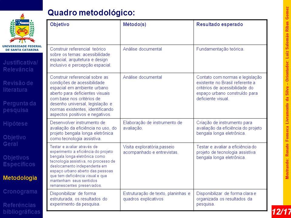 Quadro metodológico: 12/17 Justificativa/ Relevância
