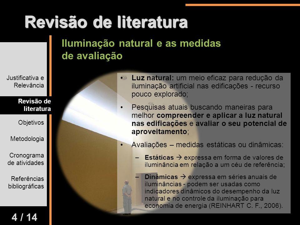 Revisão de literatura Iluminação natural e as medidas de avaliação