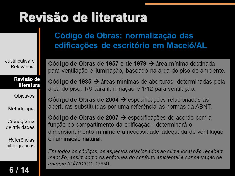 Revisão de literatura Código de Obras: normalização das edificações de escritório em Maceió/AL. Justificativa e Relevância.
