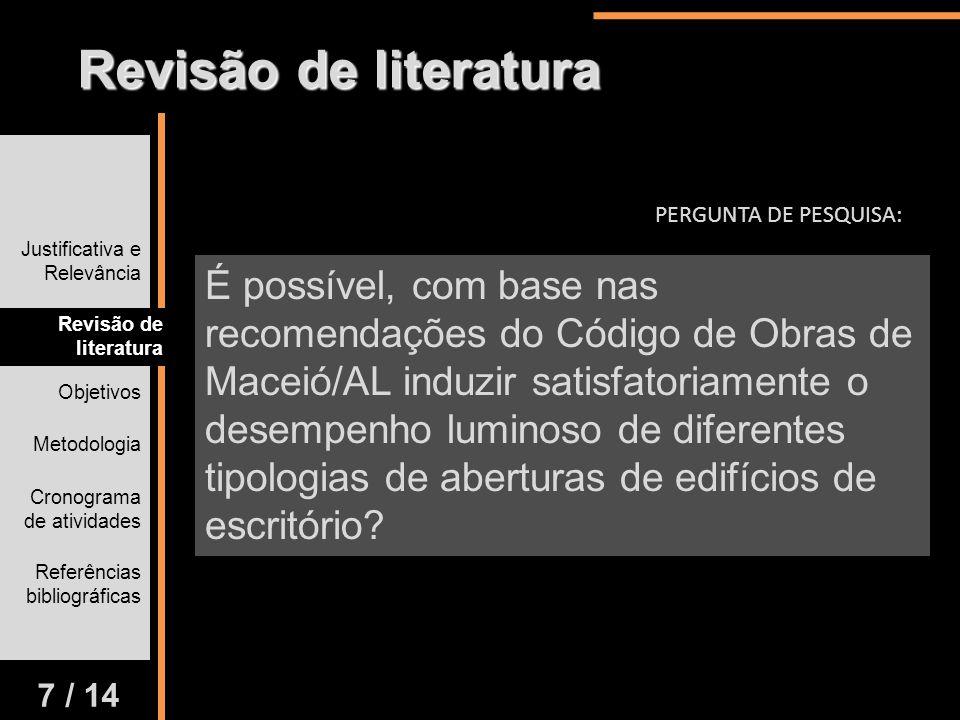 Revisão de literatura PERGUNTA DE PESQUISA: Justificativa e Relevância.