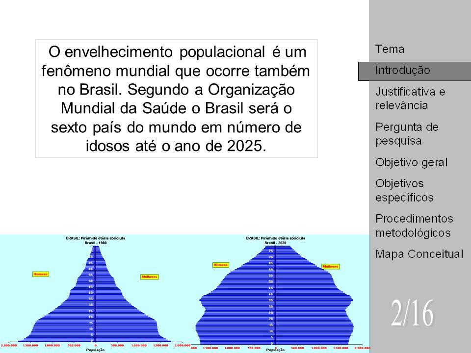 O envelhecimento populacional é um fenômeno mundial que ocorre também no Brasil. Segundo a Organização Mundial da Saúde o Brasil será o sexto país do mundo em número de idosos até o ano de 2025.