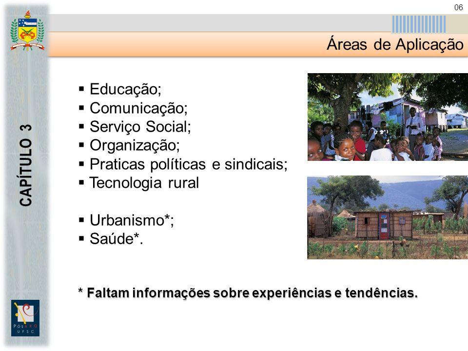 Áreas de Aplicação CAPÍTULO 3 Educação; Comunicação; Serviço Social;