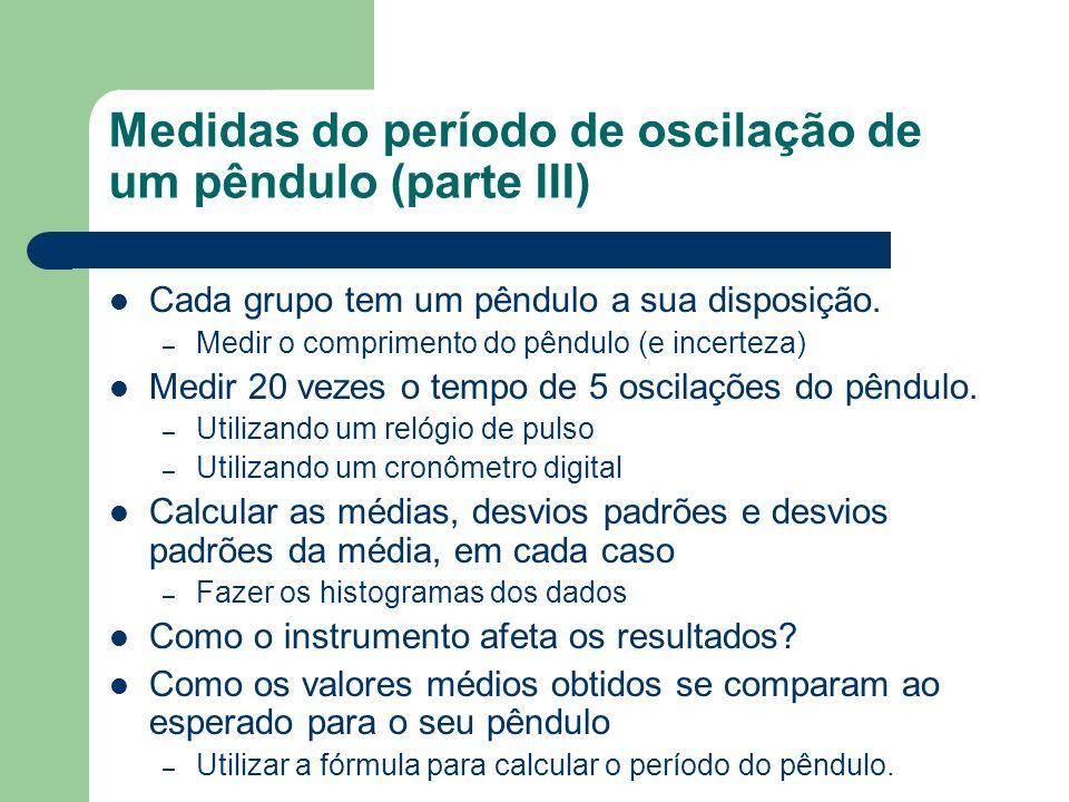 Medidas do período de oscilação de um pêndulo (parte III)