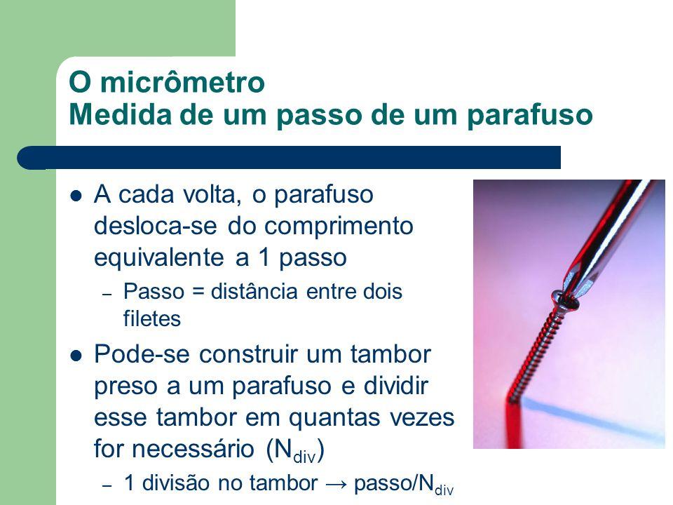 O micrômetro Medida de um passo de um parafuso