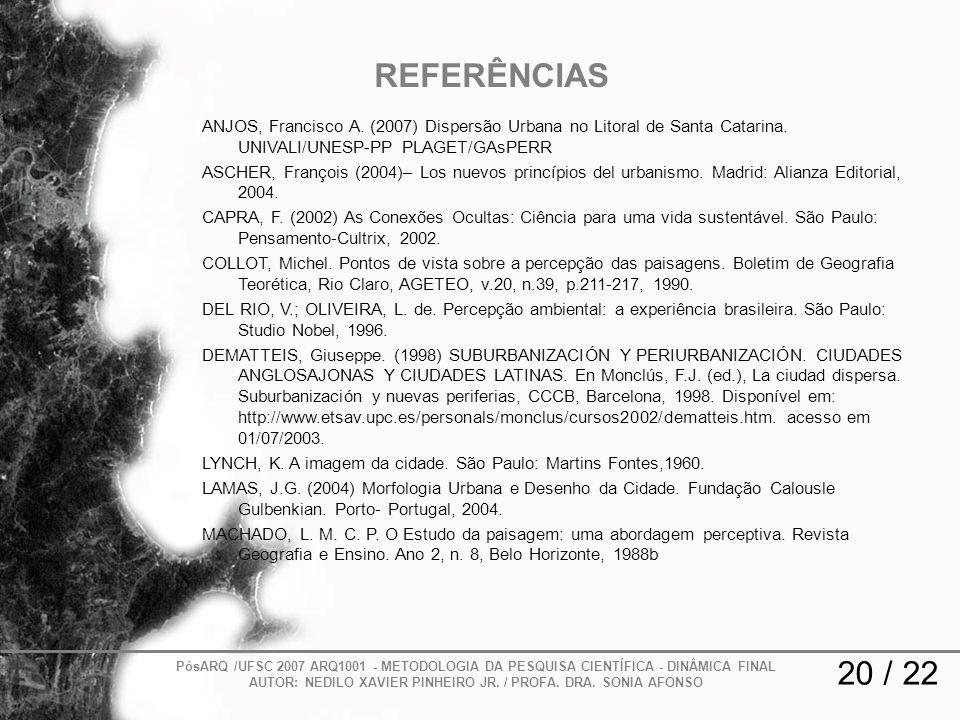 REFERÊNCIAS ANJOS, Francisco A. (2007) Dispersão Urbana no Litoral de Santa Catarina. UNIVALI/UNESP-PP PLAGET/GAsPERR.