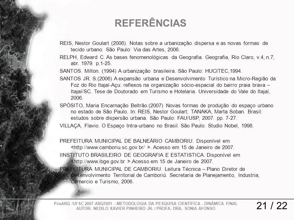 REFERÊNCIAS REIS, Nestor Goulart (2006). Notas sobre a urbanização dispersa e as novas formas de tecido urbano. São Paulo: Via das Artes, 2006.