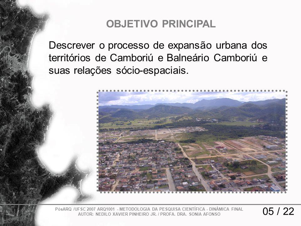 OBJETIVO PRINCIPAL Descrever o processo de expansão urbana dos territórios de Camboriú e Balneário Camboriú e suas relações sócio-espaciais.