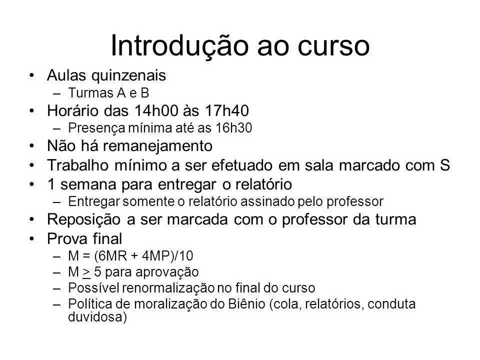Introdução ao curso Aulas quinzenais Horário das 14h00 às 17h40