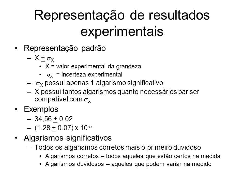 Representação de resultados experimentais