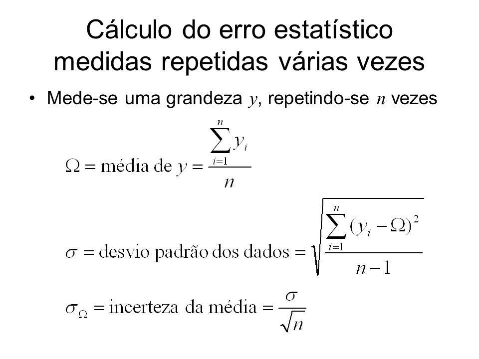 Cálculo do erro estatístico medidas repetidas várias vezes