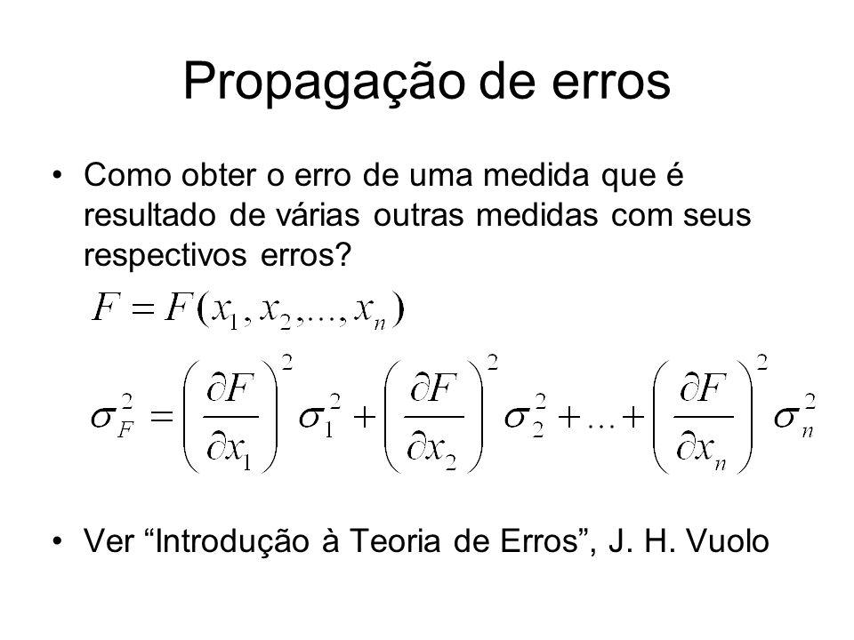 Propagação de erros Como obter o erro de uma medida que é resultado de várias outras medidas com seus respectivos erros