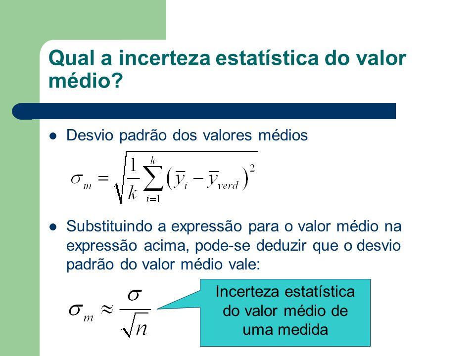 Qual a incerteza estatística do valor médio
