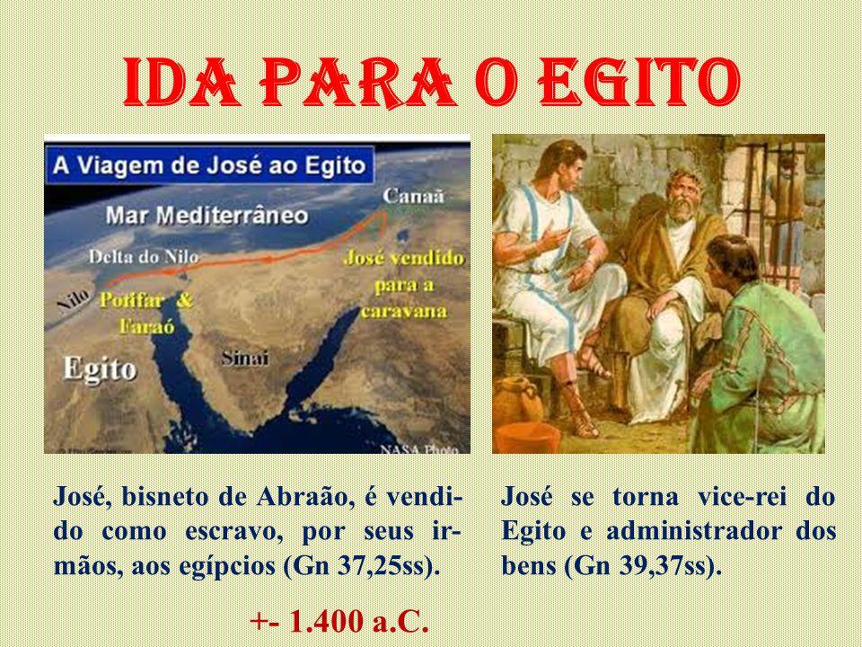 Ida para o Egito José, bisneto de Abraão, é vendi-do como escravo, por seus ir-mãos, aos egípcios (Gn 37,25ss).