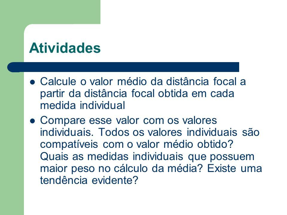 Atividades Calcule o valor médio da distância focal a partir da distância focal obtida em cada medida individual.