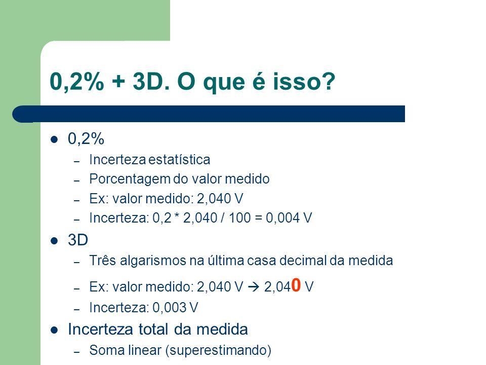 0,2% + 3D. O que é isso 0,2% 3D Incerteza total da medida