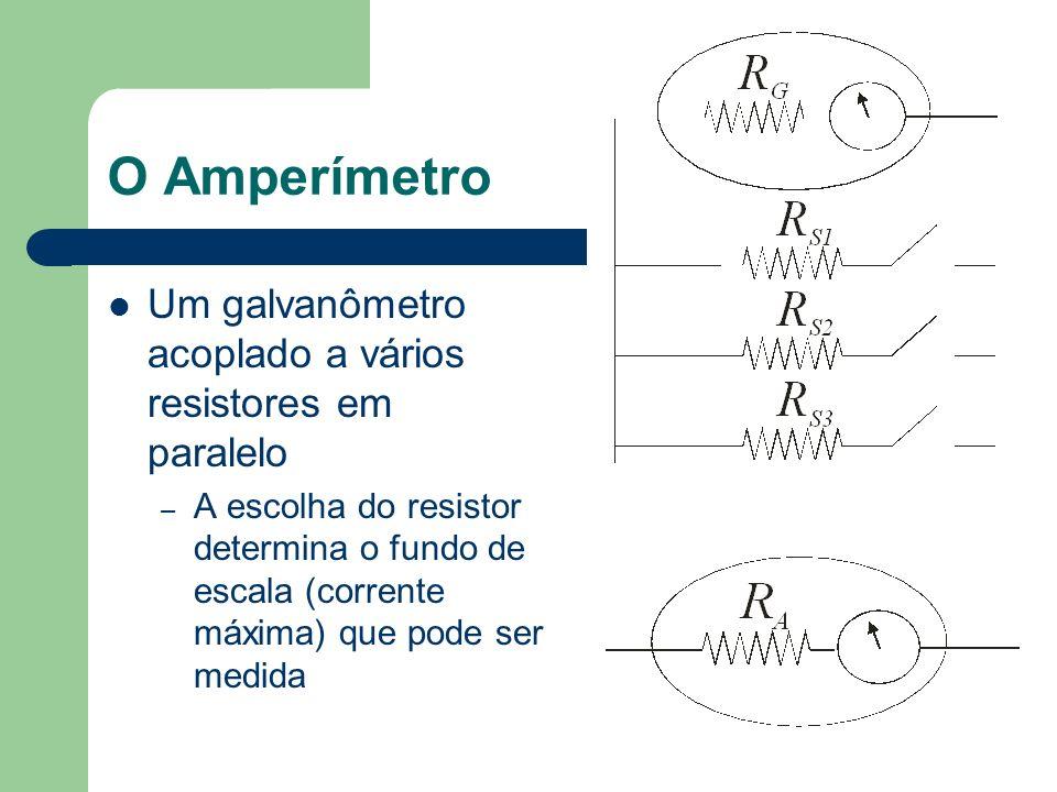 O Amperímetro Um galvanômetro acoplado a vários resistores em paralelo
