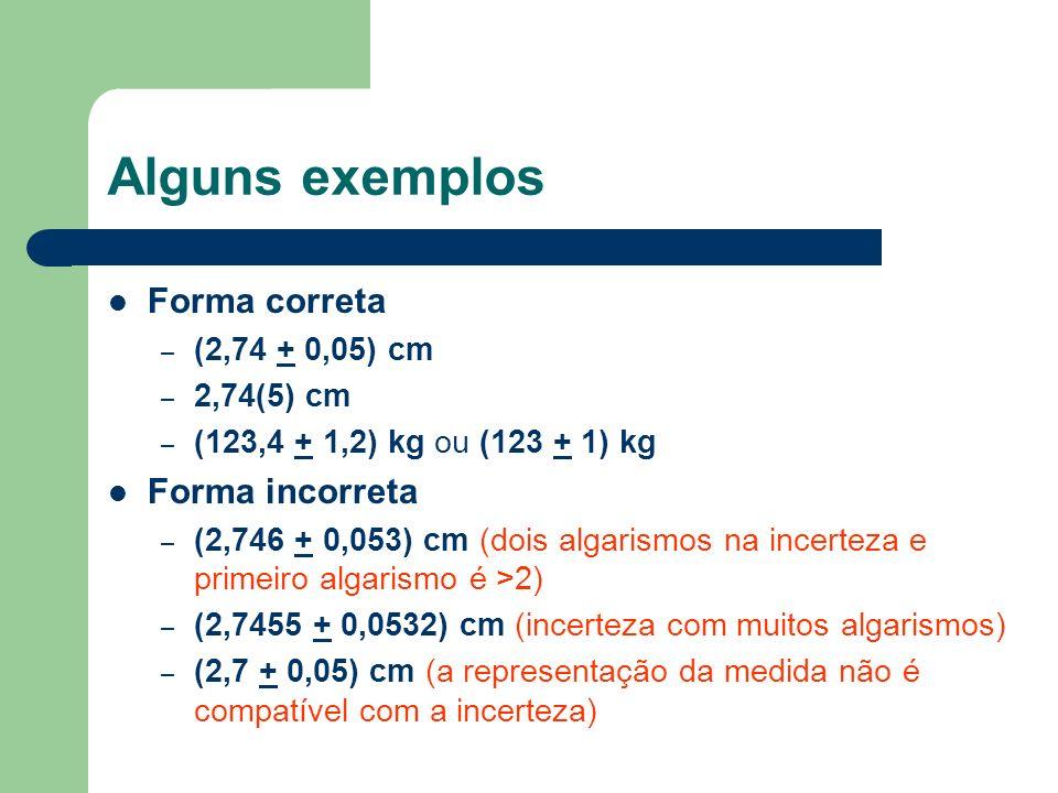 Alguns exemplos Forma correta Forma incorreta (2,74 + 0,05) cm
