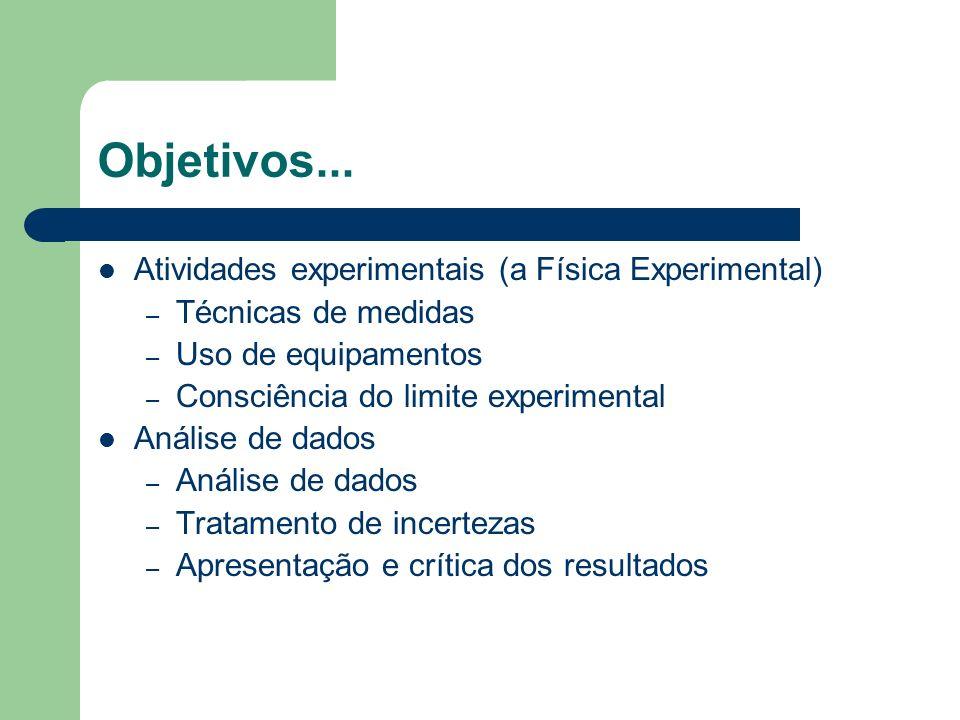 Objetivos... Atividades experimentais (a Física Experimental)