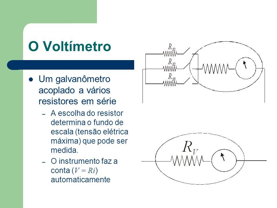 O Voltímetro Um galvanômetro acoplado a vários resistores em série