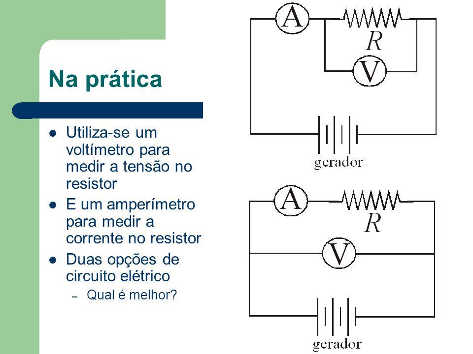 Na prática Utiliza-se um voltímetro para medir a tensão no resistor