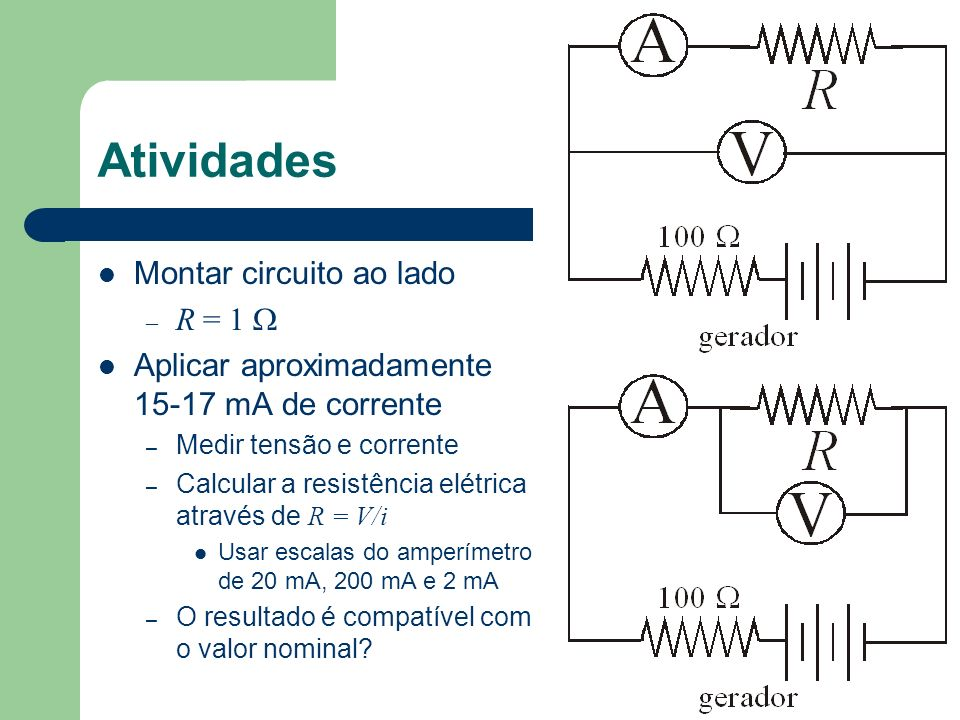 Atividades Montar circuito ao lado R = 1 W