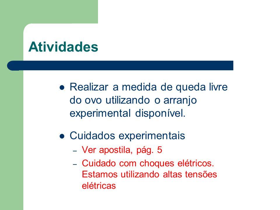 Atividades Realizar a medida de queda livre do ovo utilizando o arranjo experimental disponível. Cuidados experimentais.