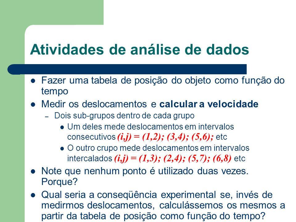 Atividades de análise de dados