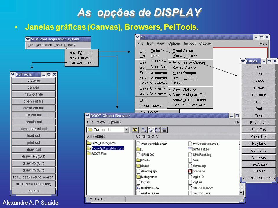 As opções de DISPLAY Janelas gráficas (Canvas), Browsers, PelTools.