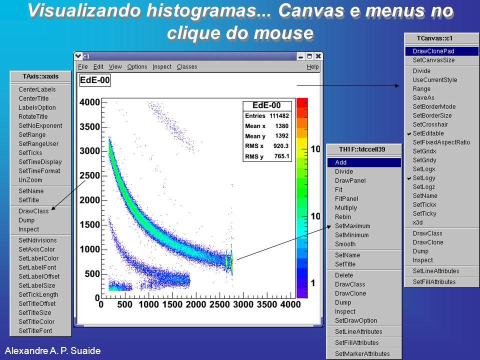 Visualizando histogramas... Canvas e menus no clique do mouse