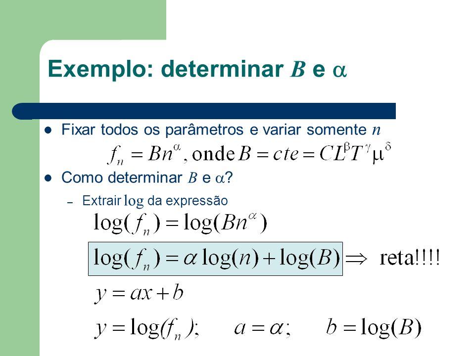 Exemplo: determinar B e 