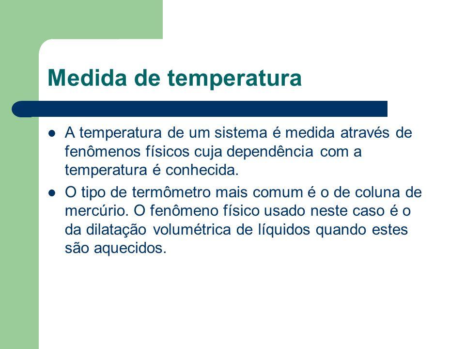 Medida de temperaturaA temperatura de um sistema é medida através de fenômenos físicos cuja dependência com a temperatura é conhecida.