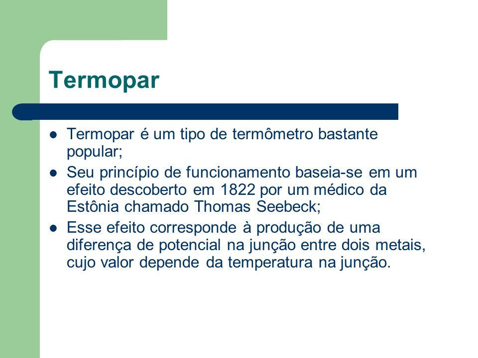 Termopar Termopar é um tipo de termômetro bastante popular;