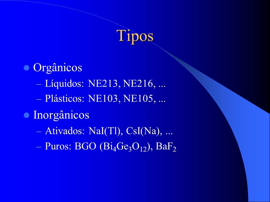 Tipos Orgânicos Inorgânicos Líquidos: NE213, NE216, ...