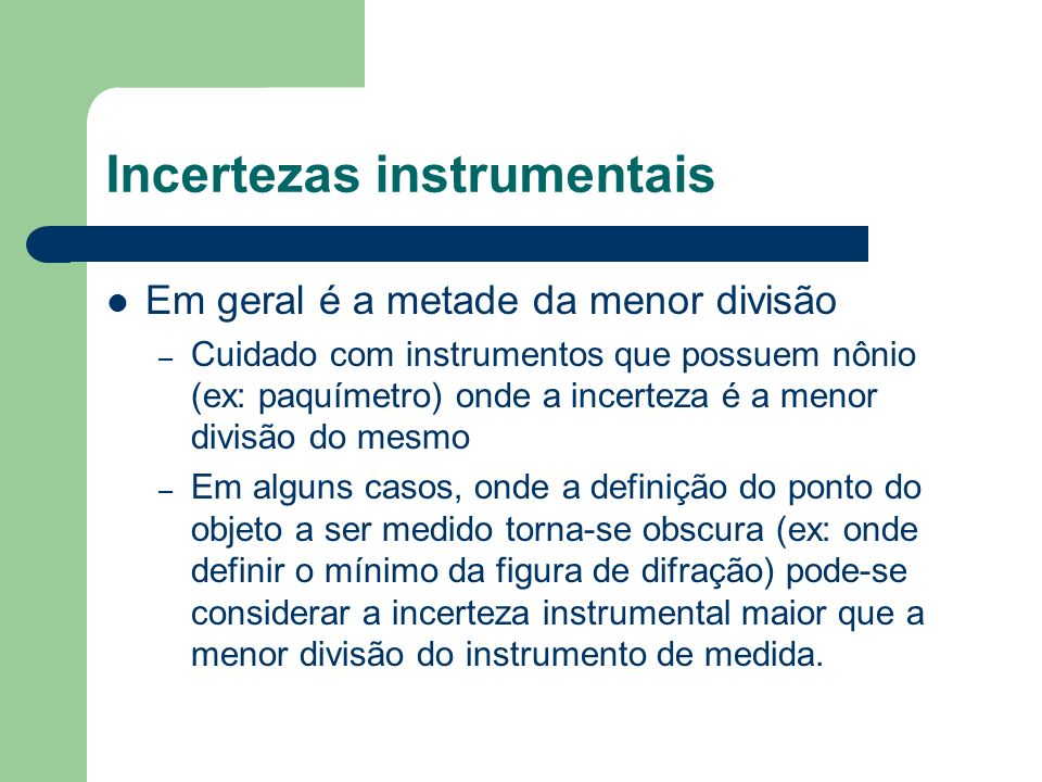 Incertezas instrumentais