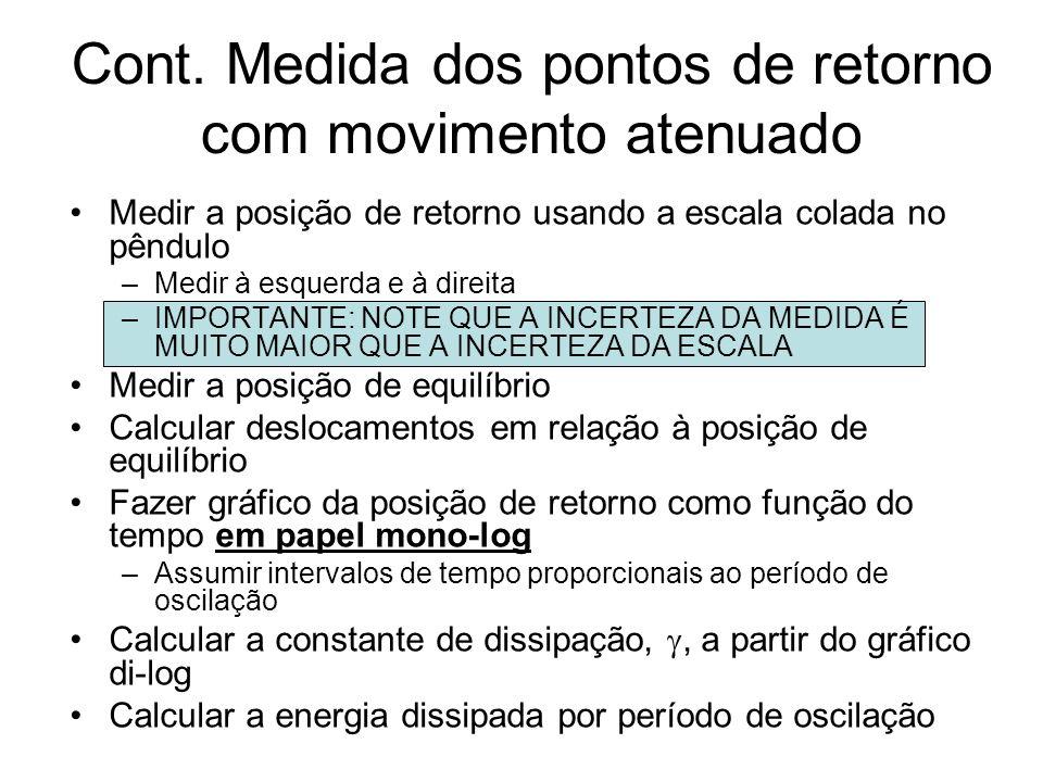 Cont. Medida dos pontos de retorno com movimento atenuado