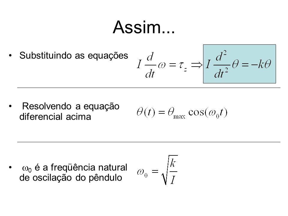 Assim... Substituindo as equações