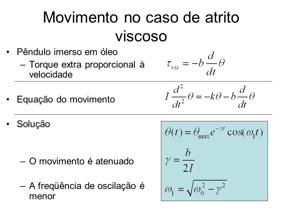 Movimento no caso de atrito viscoso