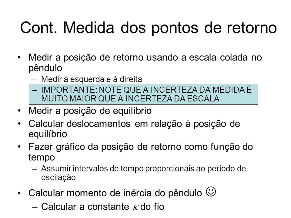 Cont. Medida dos pontos de retorno