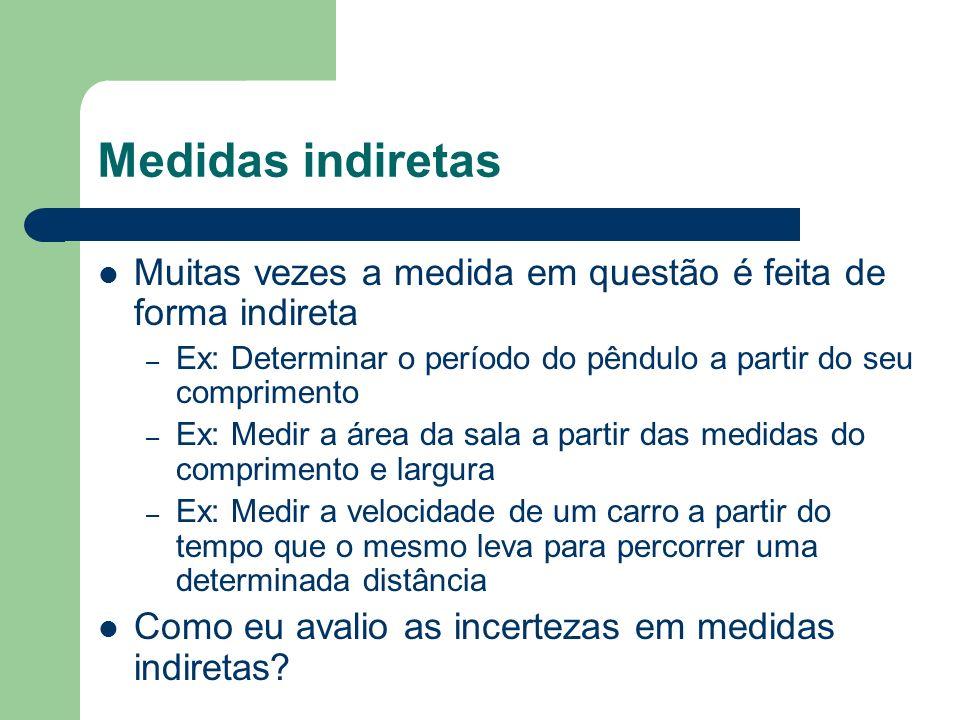 Medidas indiretas Muitas vezes a medida em questão é feita de forma indireta. Ex: Determinar o período do pêndulo a partir do seu comprimento.