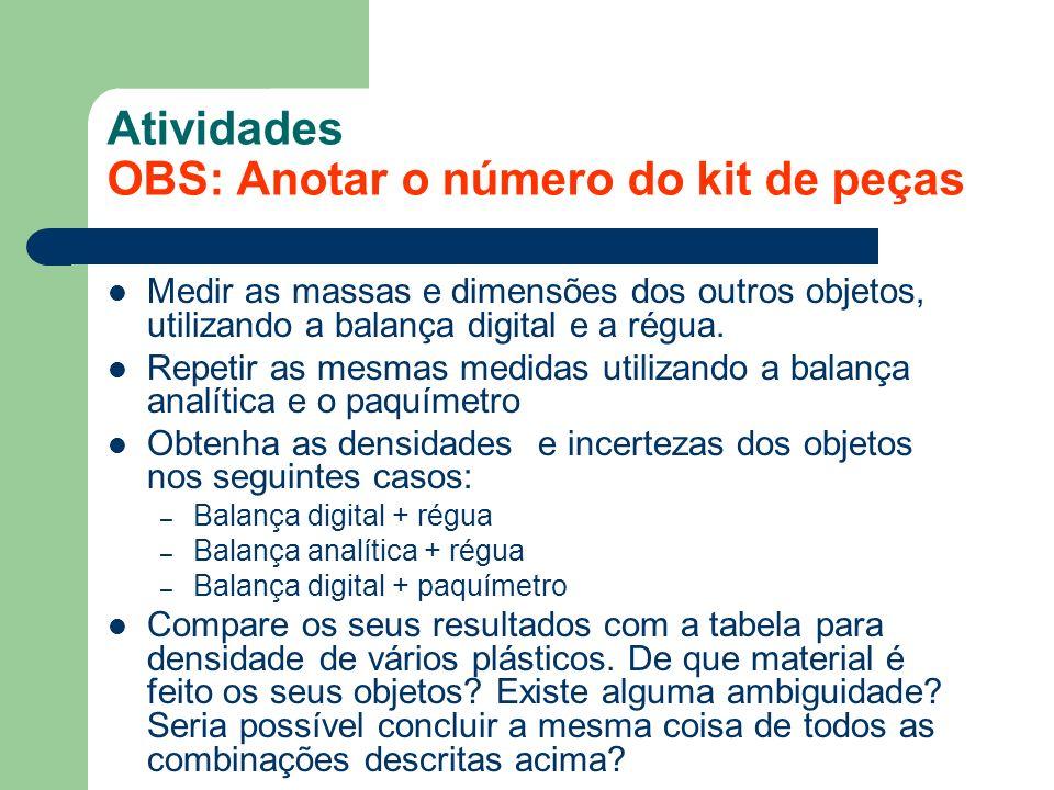 Atividades OBS: Anotar o número do kit de peças