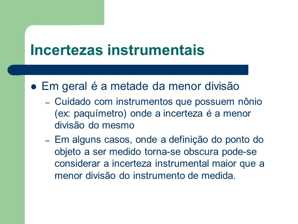 Incertezas instrumentais