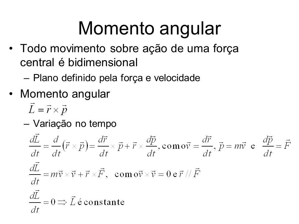 Momento angularTodo movimento sobre ação de uma força central é bidimensional. Plano definido pela força e velocidade.