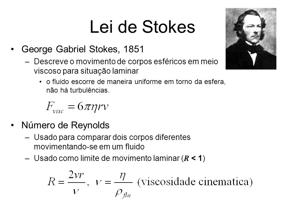 Lei de Stokes George Gabriel Stokes, 1851 Número de Reynolds