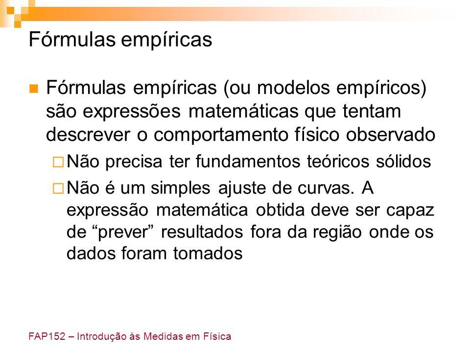 Fórmulas empíricas Fórmulas empíricas (ou modelos empíricos) são expressões matemáticas que tentam descrever o comportamento físico observado.