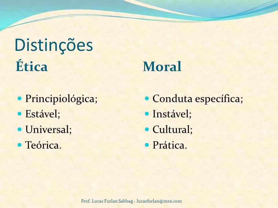 Distinções Ética Moral Principiológica; Estável; Universal; Teórica.