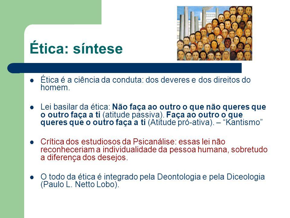 Ética: síntese Ética é a ciência da conduta: dos deveres e dos direitos do homem.