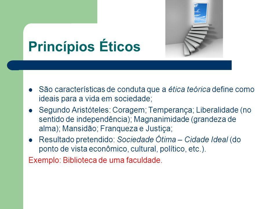 Princípios Éticos São características de conduta que a ética teórica define como ideais para a vida em sociedade;