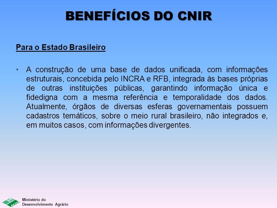 BENEFÍCIOS DO CNIR Para o Estado Brasileiro