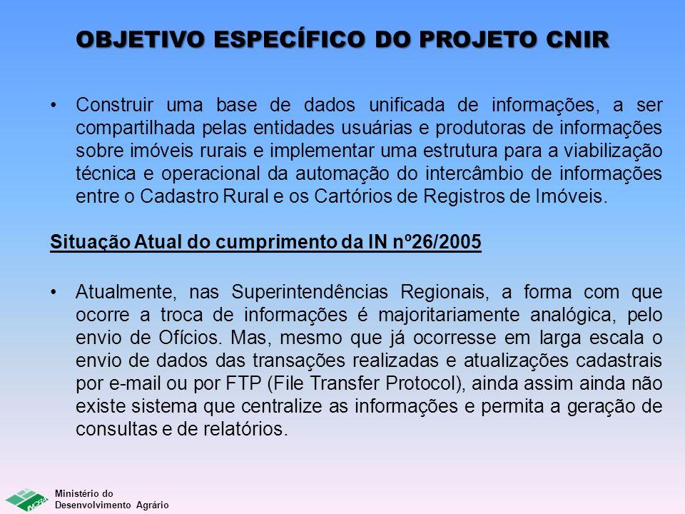 OBJETIVO ESPECÍFICO DO PROJETO CNIR